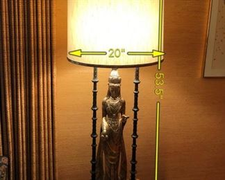 Item 6: In the manner of James Mont monumental lamp: $625     Excellent original condition. A gilt bronze statue of Quan Yin, the Chinese goddess of mercy. Lacquered metal three-column shrine surrounds her. Reverse trefoil plinth base with three segmented cast metal supports.