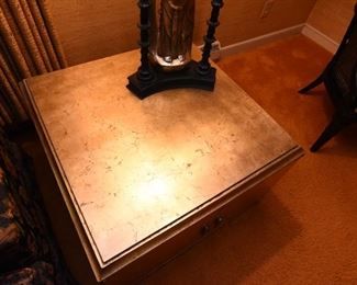 Item 7: Square gold leaf end table cabinet: $225    Finished on all four sides. Very good condition.