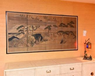 """Item 10: Four Panel Asian Screen  $95  Imagery depicts fog among the cherry blossoms. 72"""" long"""
