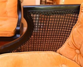 Item 13: Caned side and back chair and bench $260      Painted in black with a refined, but midcentury-appropriate-orange velvet tufted cushions. Some paint loss on caning. Good condition.