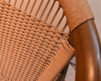 """Item 15: Ringstol Chair  $500  Stamped """"Made in Denmark"""" in red on underside. All four legs have water damage, as shown."""