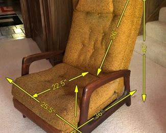 Item 16: Adrian Pearsall for Craft Associates Recliner $385   Highback cushioned recliner upholstered in nubby mustard fabric. Weighted strap headrest present. Reclining mechanism in good working order. Upholstery appears to be in good condition, but the entire chair needs a deep clean to get the dust out.