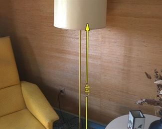 Item 18: Yellow metal floor lamp $30   Some wear and dings to the paint on the base. Height shown is from base to top of socket.