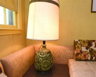 Item 25: Large Vintage Green Ceramic Lamp  $70  Small chip at lip. Overall good condition.