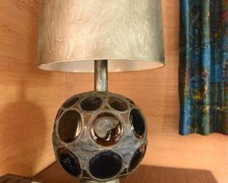 Item 28: (PENDING) Monumental lamp with stained glass circles. $95    Unmarked. In working condition.