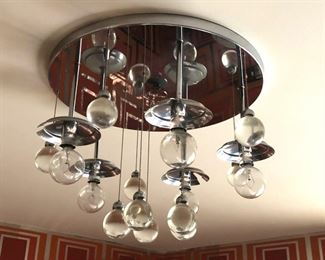 Item 30: Vintage Lightolier Chrome Bubbles Chandelier $525  This five-light, flush-mount chandelier should have five glass globes. I haven't found them yet in the house but will keep looking.