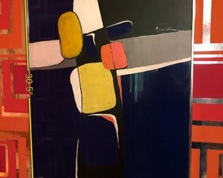 Item 31: Abstract Tina Roy Painting  $475    Mixed media on blue synthetic material. Signed top right.