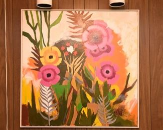 Item 35: Floral Painting by Lee Reynolds  $245  Good condition. One small area of paint loss on the bottom edge.