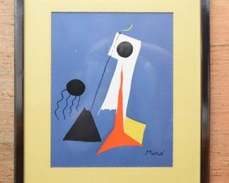 """Item 37: Joan Miró work on paper $45   Serigraph is a reproduction produced by """"Modern Classics."""" Approximately 8"""" x 10"""" I'll take exact measurements asap. Very good condition."""