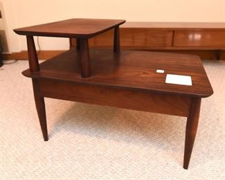 Item 47: Rosewood 2-Tier EndTable with Tiles  $70  No marks. The wood is in good condition and will look even better with some proper TLC. White rounded corner tiles are inset into the wood.