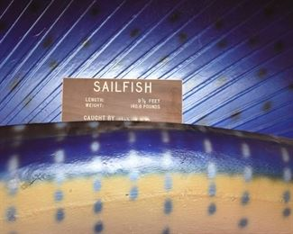 Item 48: Sailfish Mount  $200   9.5' long sailfish who wants to come live with you.