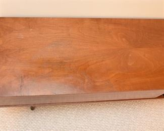 Item 49: Low Rider Coffee Table  $165  Unmarked, 2-drawer coffee table, finished on all sides to give you lots of placement options. Some water damage on top, as shown. Overall good condition.