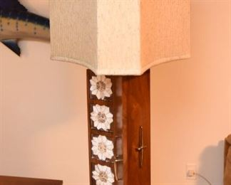 """Item 52: Monumental Trefoil Tiled Lamp  $135   Tile on """"front"""" panel only, gold-tone hardware on all three wings. Original trefoil shade. Good condition."""