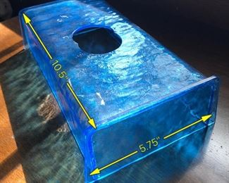 Item 57: Vintage blue lucite tissue box cover  $15