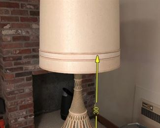 Item 59: Mid Century Ceramic Lamp  $85  Metallic base, some wear from use. Good condition.
