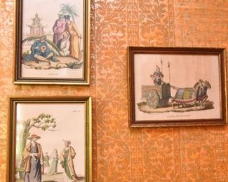 Item 68: Set of 3 Italian Orientalist Hand Colored Etchings  $36  Each is in a 5x7 frame.