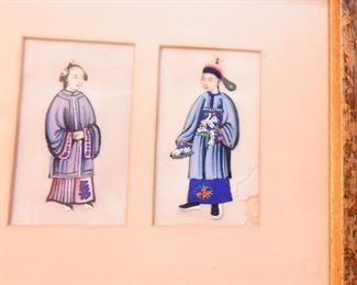 Item 71: Five Minature Chinese Figures  $85  Hand-painted on parchement. Color is rich and vibrant. Some damage on right-most potrait as shown.