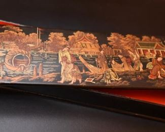 """Item 72: Black lacquered box with Japanese scene.  $24  Red lacquered interior.  12"""" x 4"""" x 1.75"""""""