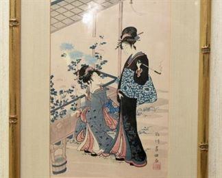 ITEM 76: Japanese block print of two geishas. $28