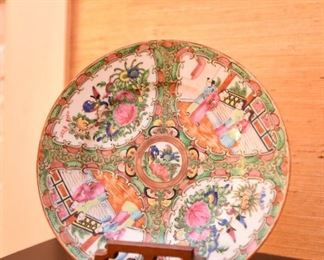 """ITEM 74; Famille Rose Plate with Stand $15   No chips or cracks. Marked """"China"""" on back."""