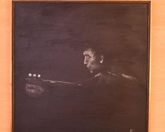 ITEM 82: Dramatic black and white painting  $70  Image of man playing guitar; looks like Bob Dylan to me.