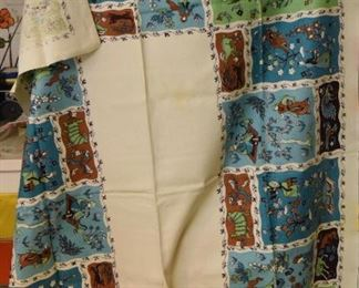 """ITEM 103: Vintage Tablecloth  $18  Yellow stains in white center field. 42"""" x 66"""""""
