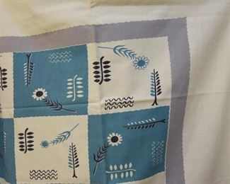 """ITEM 104: Vintage Blue White Checker with Lavender  Border Table cloth  $20  66"""" x 72""""  Some stains, as shown."""