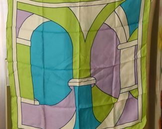 """ITEM 106: Vintage Scarf  $10  Tag removed. 27"""" square. Lime green, lavender and blue. Some color bleed as shown."""