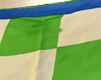 """Item 107: Vintage Vera Green Squares and Blue Circle Scarf  $10  Some discoloration and color bleed as shown.  27"""" square"""