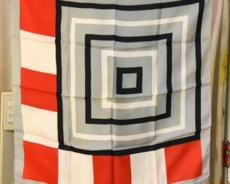 """Item 109: Vintage Concentric Squares Black and Red Scarf  $10   27"""" square"""