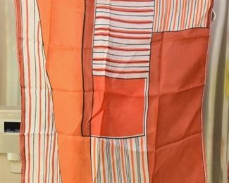 "ITEM 110: Vintage  Vera Orange Square Scarf  $8   23"" square.  Minor pull in one of the striped areas."