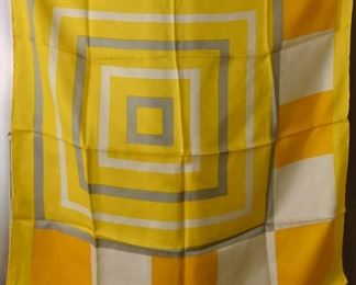 """ITEM 111: Vintage  Yellow and Gray Concentric  Square Scarf  $10   27"""" square."""