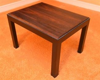"""ITEM 116: Rosewood side table  $35  Very good condition. 21"""" long, 14"""" tall, 14"""" wide."""