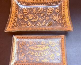 ITEM 119: Two 22k Gold Decorated George Briard Glass Trays  $14