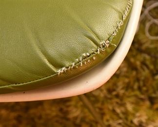 ITEM 126: Burke Fiberglass Desk Chair  $35  Green Vinyl Chusion has obvious repairs.