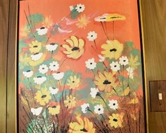 Item 135: Floral painting, signed Ron Atherton  $35