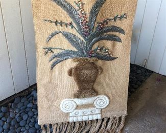 Woven Macrame style wall hanging woven wicker  - has a mark on the left side $20