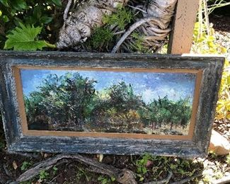 Mid Century Abstract expressionist tree scene $100