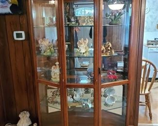 Wooden Double Door Pine Lighted Display Cabinet Beveled Glass -with Keys