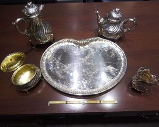 All five pieces of Imperial German .800 fine silver coffee and tea set with creamer and gilt covered inner lining of sugar casket. Magnificent.