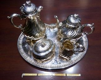 All five pieces of Imperial German coffee and tea set