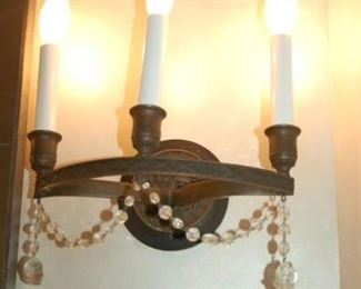 $2,500 A Pair of Antique Regency Ring Patinated Bronze Sconces circa 1820