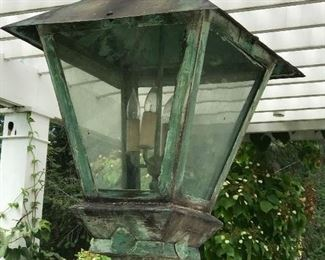 $1,800 C. 1930 Copper Hanging Lantern with beautiful patina signed and dated by Fred Holzhauser Artisian Metal Products.
