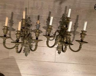 $500 Pair of four brass electric candelabra sconces