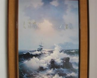 #2    $30.00  Ships print in mid-century frame