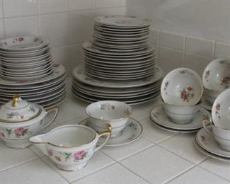 #7 Jackson Featherweight china set 74 pieces with serving pieces $200.00