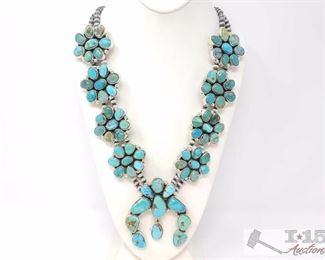 """220 LARGE Navajo Sterling Silver Turquoise Cluster Squash Blossom Necklace. C Yazzie. Value $3500.00 Navajo Sterling Silver Turquoise Cluster Squash Blossom Necklace  • Length : 30 inches • Weight : 374 grams • Naja Pendant : 3.5 inches by 3.1 Inches  • Artist: Charlene Yazzie Measures Approx 31"""""""