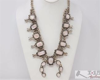 """225 Old Pawn Vintage Sterling Silver and Mother of Pearl Squash Blossom Necklace. Value $1500.00 Old Pawn  Mother of Pearl Sterling Silver Squash Blossom.. The Breathtaking large mother of pearl has an lustrous  iridescent coloring in many pink shades.  Weighs Approx 136.6g. Measures Approx 23""""."""