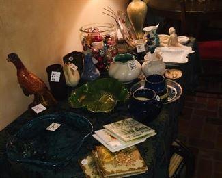 fine lamps, early tiles, pottery, aluminum ware, figureines