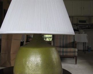 "$40 each,  Art Pottery Lamps green shimmery glaze, 28"" tall"